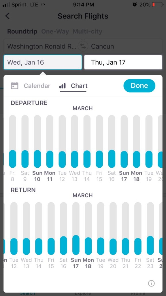 Input Flight Details And Tap On Chart To View Price Fluctuations Calendar Is Similar Desktop Using Colored Dots Indicate Prices