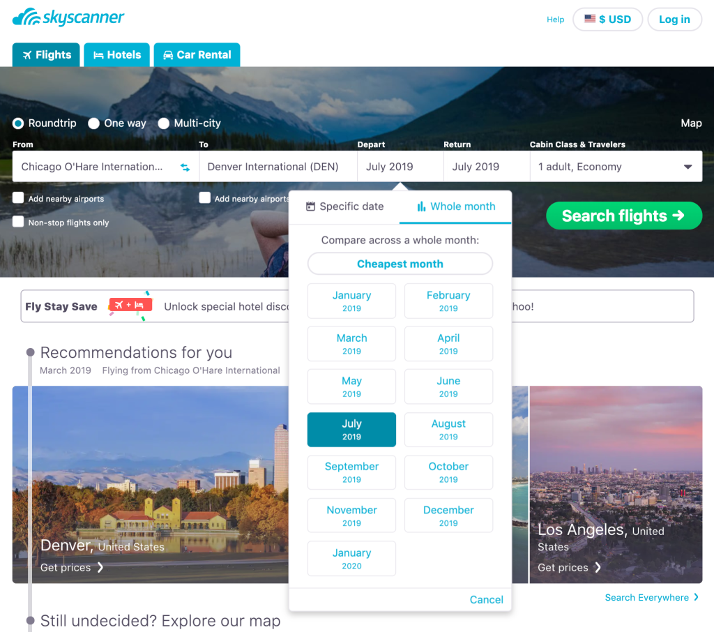 Flexible travel dates on Skyscanner for your Euro Trip.