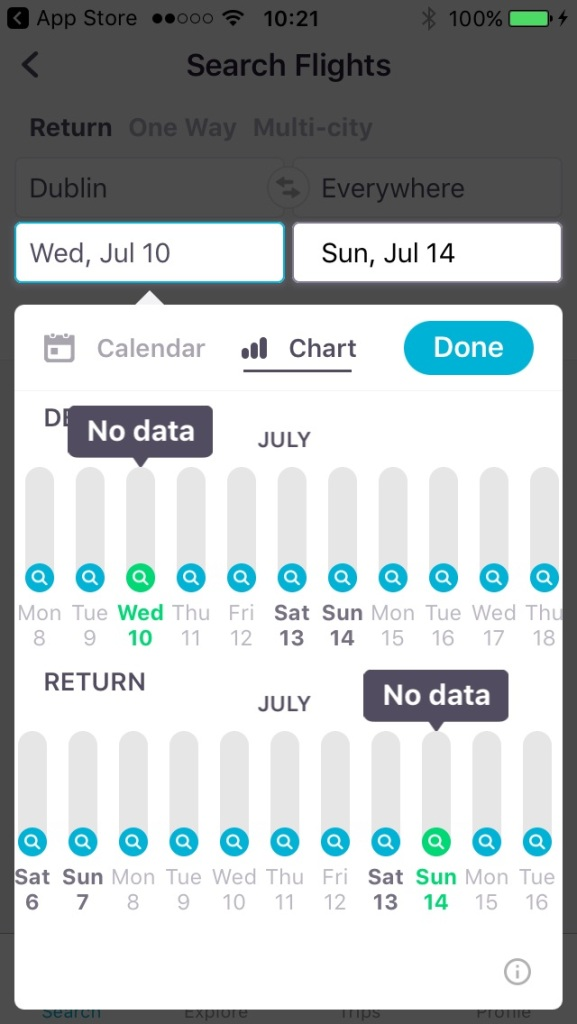 Selecting dates for flights on Skyscanner's search engine