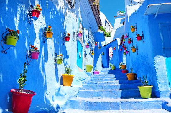 モロッコ シャウエンブルーに染まった旧市街