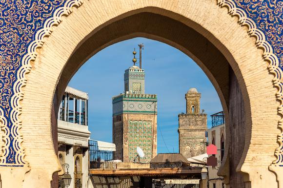 モロッコ フェズ旧市街の入口、ブー・ジュルード門