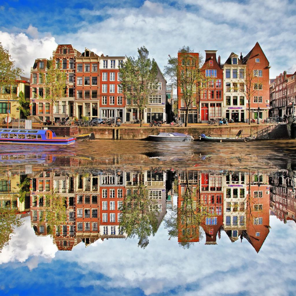 Amsterdam, reflections in the canal