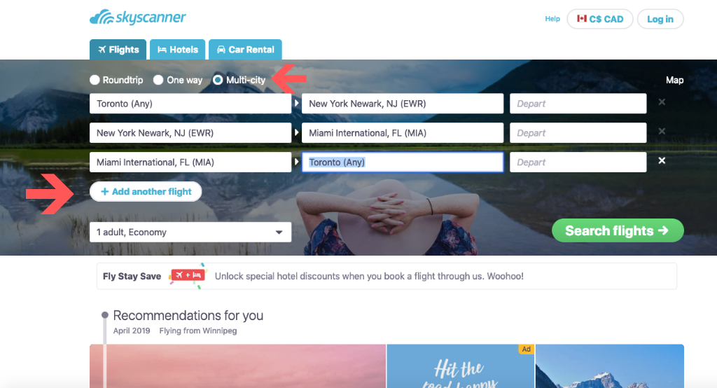 Multi-city search on Skyscanner for your Euro trip