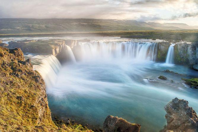 Waterfall in Lake Mývatn, Iceland