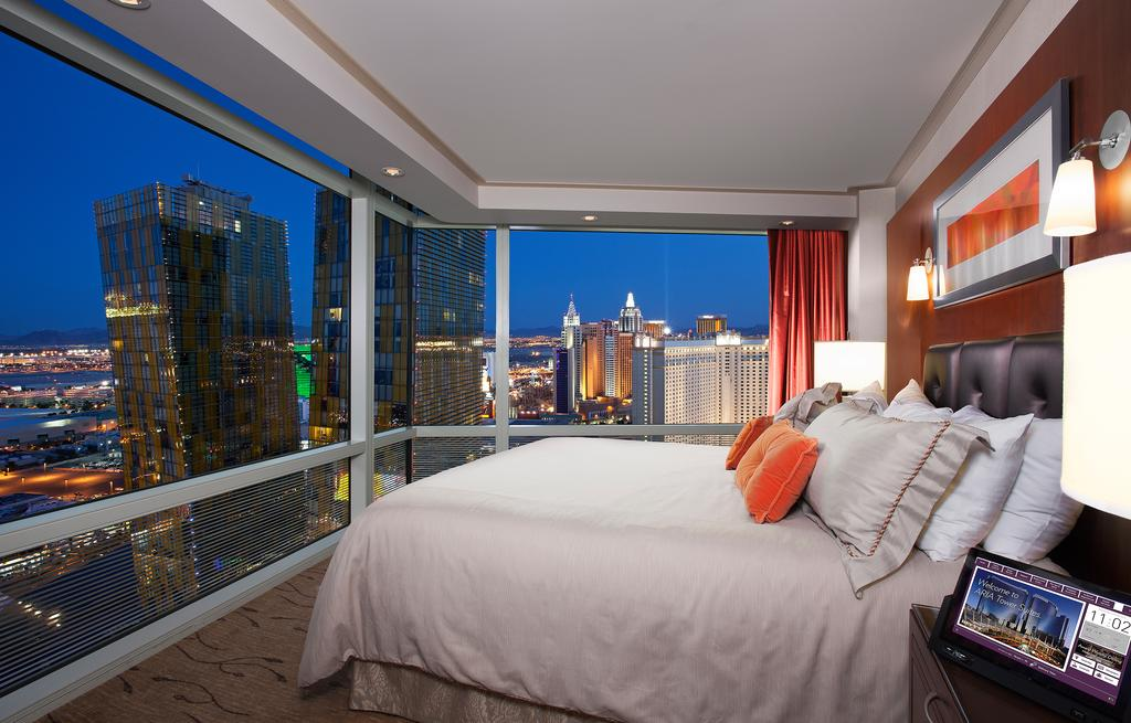 inside of a hotel room with a view