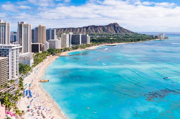 アメリカ ハワイ オアフ島 ワイキキ・ビーチとダイヤモンドヘッド