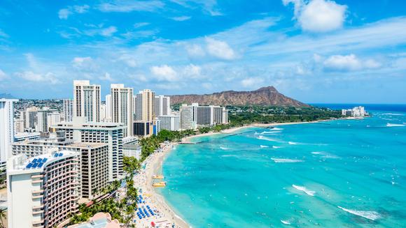 ハワイ ホノルル ワイキキビーチとダイヤモンドヘッド